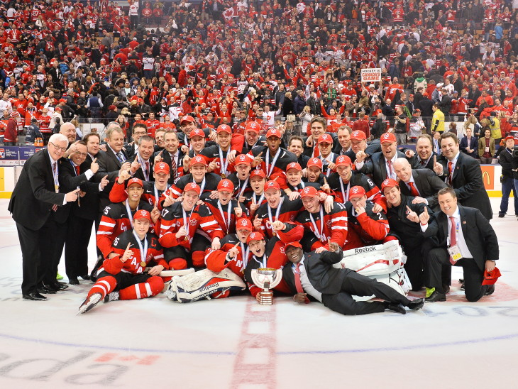 Team Canada defeated Team Russia 5-4 to capture the 2015 World Junior Championship on Monday January 5, 2015 at the Air Canada Centre in Toronto, ON. Photo by Terry Wilson / CHL Images.