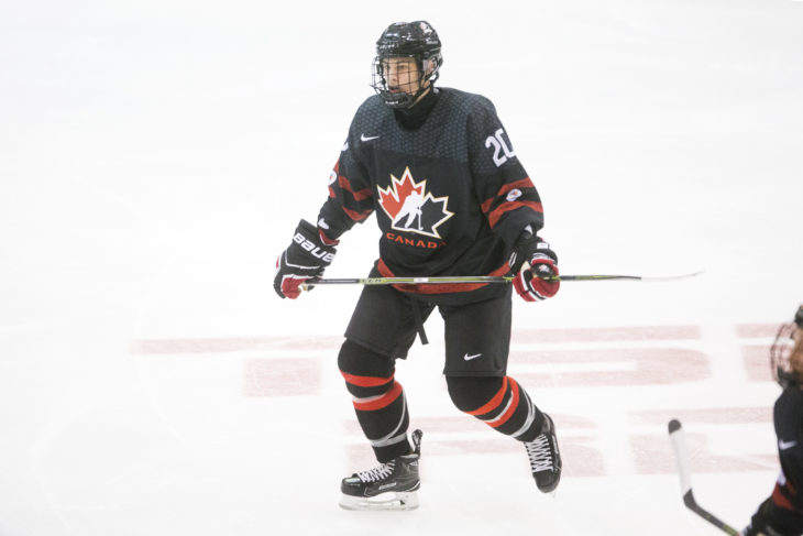 Declan Chisholm (Peterborough Petes ) seen representing Team Canada Black in the 2016 World Under-17 Hockey Challenge played in Sault Ste. Marie, Ont. Photo by Kenneth Armstrong for CHL Images