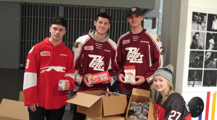 Dec. 22 Holden Wale, Hunter Jones, John Parker-Jones, Emily Rickwood with Food Donations