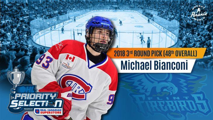 Michael Bianconi Flint Firebirds OHL