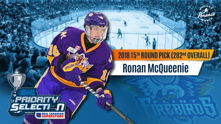 Ronan McQueenie Flint Firebirds OHL Hockey