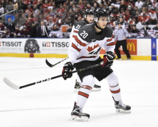 Michael McLeod of the Mississauga Steelheads represented Canada in the 2017 World Junior Hockey Championships in Toronto and Montreal. Photo by Aaron Bell/CHL Images