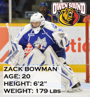 Zack Bowman of the Sudbury Wolves. Photo by Terry Wilson / OHL I