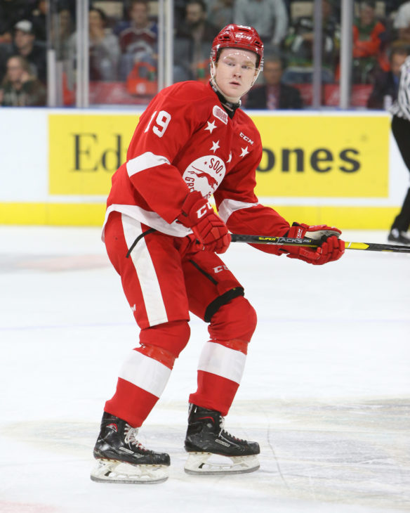 Joe Carroll of the Sault Ste. Marie Greyhounds. Photo by Luke Durda/OHL Images
