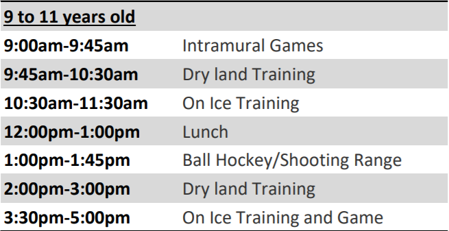 9-11 calendar hockey school