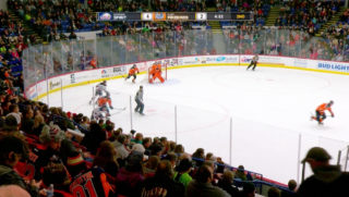 An example of the Firebirds Hockey Network's (FHN) TV coverage of a home Flint Firebirds game.