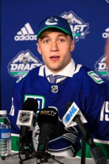 Flint Firebirds forward Ethan Keppen addresses the media after being selected by Vancouver at the NHL Draft Saturday
