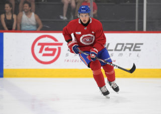 Evgeni Oksentyuk competing at the NHL's Montreal Canadiens development camp this week.