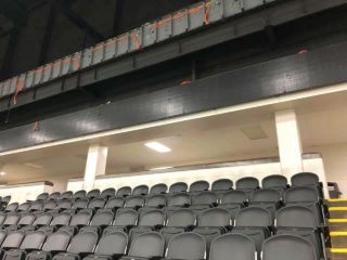 A photo incorporating the new seats and both levels of LED ribbon being installed. Credit: Brendan Savage