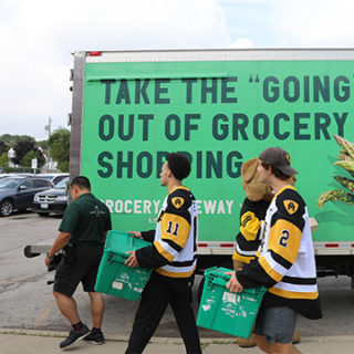 Grocery Gateway delivery with Hamilton Bulldogs players