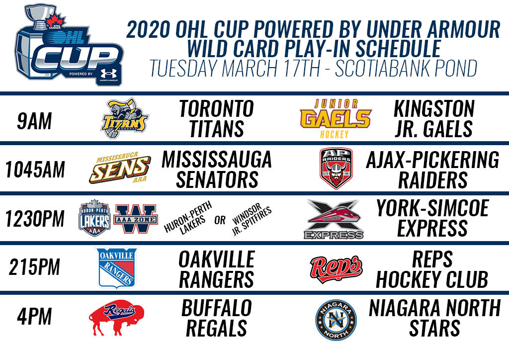 2020 Ohl Cup Powered By Under Armour Wild Card Play In Game Matchups And Schedule Ontario Hockey League
