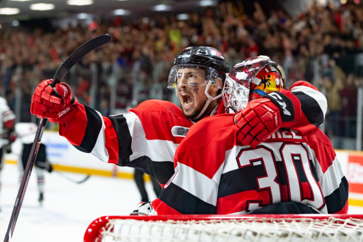 Ottawa 67s C Sasha Chmelevski celebrates after the final buzzer during the OHL Final matchup vs. the Guelph Storm at TD Place,Ottawa,ON, on May. 4, 2019. Photo: Greg Mason