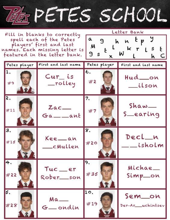 Petes School- Fill in the blank spelling