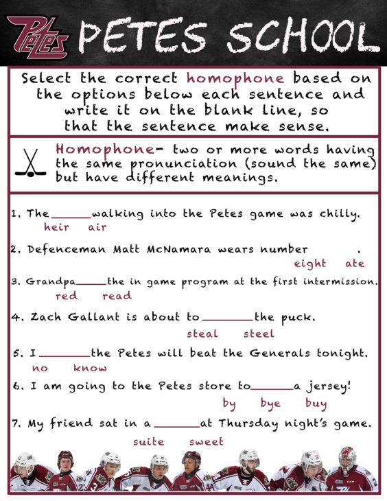 Petes School- homophones