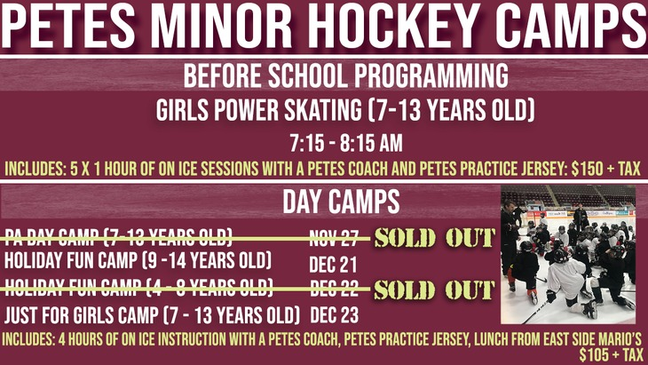 Petes Minor Camps, update for sold out