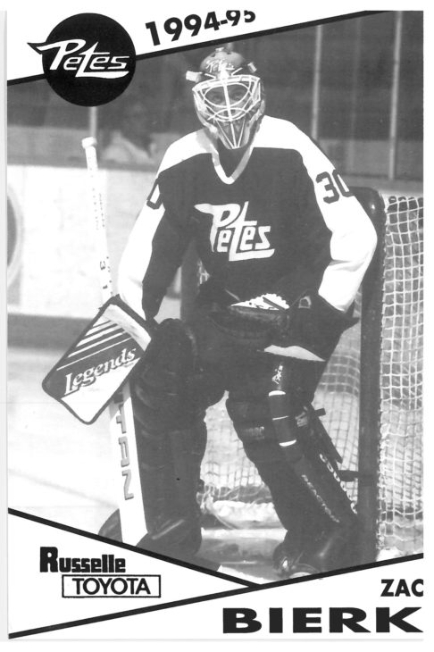 Zac Bierk played 152 games in a Petes uniform before being drafted by the Tampa Bay Lightning in 1995. While an NHLer, he played for the Lightning, Minnesota Wild, and Phoenix Coyotes. Since retiring from professional hockey in 2004, he has served as the goaltending coach for the OHL's Oshawa Generals, the AHL's Tucson Roadrunners, and, most recently, the NHL's Ottawa Senators.
