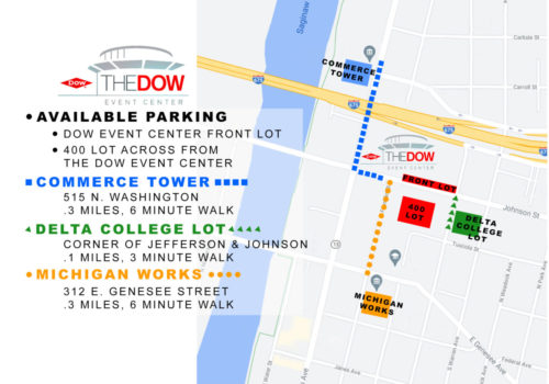 Dow Event Center Available Parking Map copy