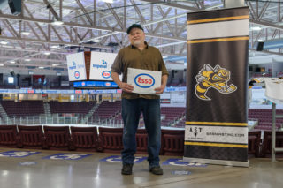 Kevin Allen, of Sarnia poses at Progressive Auto Sales Arena as winner of the Extra Mile.