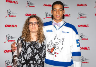 Quinton Byfield and mother, Nicole, at the OMHA annual general meeting in 2018